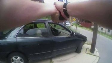 University of Cincinnati police officer Ray Tensing's body camera shows his handgun drawn