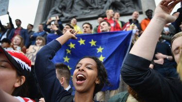 British protesters gather on Tuesday to demonstrate against the EU referendum result in Trafalgar Square.