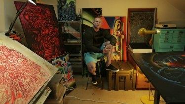 Jayde Farrell in his studio space.