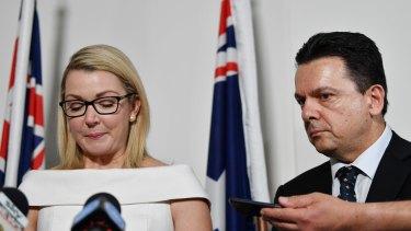 A tearful Skye Kakoschke-Moore announces her resignation alongside party leader Nick Xenophon.
