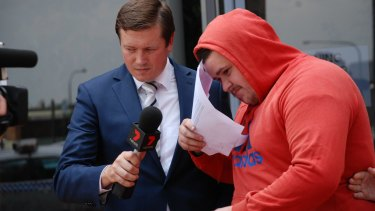 Jackson George departs Campbelltown Courthouse on Monday.
