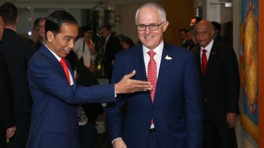 Prime Minister Malcolm Turnbull with Indonesian President Joko Widodo in Hamburg, Germany, as part of the G20.