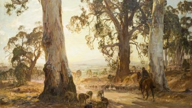 Hans Heysen's Droving into the Light (1914-21), detail.