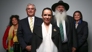 Malarndirri McCarthy, Ken Wyatt, Linda Burney, Pat Dodson and Jacqui Lambie at Parliament House.
