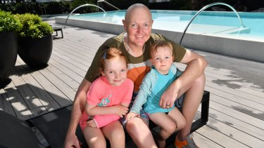 Golfer Jarrod Lyle, who is recovering from another bone marrow transplant,  with daughters Lusi (5) and Jemma (20 months).