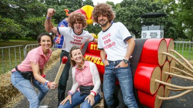 This Sunday, 60 fearless teams from across the country will be taking their place at the start line for the 2015 Red Bull Billy Cart Race at Centennial Parklands. Dynamite Napoleons Lydia Wallis, Sid Heaslip, Sarah Heaslip and Peter Steggall are ready to go.