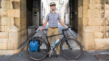 Cyclist Simon Vincett regularly makes a nine-kilometre ride to work in the CBD
