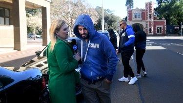 Relatives of Bilal Alameddine leave Parramatta Bail Court on Saturday.