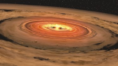 """An artist's depiction of a dusty """"circumstellar"""" disc orbiting a young red dwarf star."""