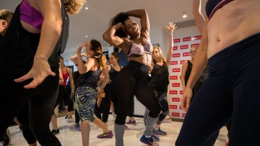 Serena Williams jumped off the stage at the end of the dance class to boogie with the guests.