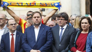 Catalan politician Oriol Junqueras, second from left, has been compared by opponents of independence to Britain's Nigel Farage.