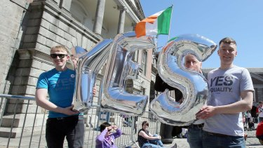 """Yes"": Supporters of same-sex marriage in Dublin on Saturday."