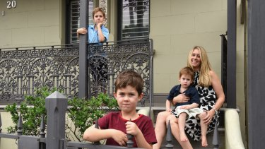 Work-from-home mum and freelance lawyer Leonie Chapman with her three sons.