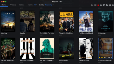 The original Popcorn Time desktop app, seen here on a Mac, has a lot more features and content than the web browser app.