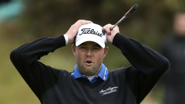So close: Australia's Marc Leishman.