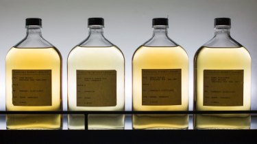 Various samples of whisky are seen in the whisky library of Suntory Holdings' Yamazaki Distillery.