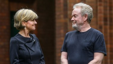 Planning to shoot three Alien films in Sydney ... director Ridley Scott, right, talks to Foreign Affairs Minister Julie Bishop at Fox Studios.