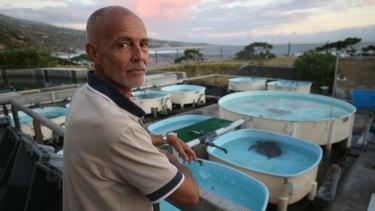 Kelonia director Stephane Ciccione at the turtle sanctuary on Reunion Island.