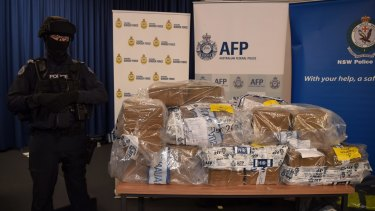 One fifth of the 500 kilograms of cocaine is displayed at a press conference on Thursday.