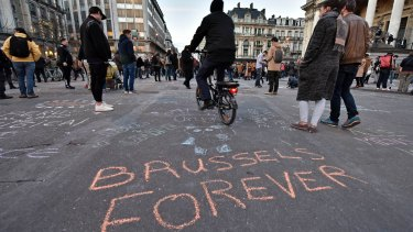 """Brussels forever"" at the Place de la Bourse in the centre of Brussels."