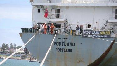 Protesting crew members on the MV Portland last year.