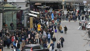 Police evacuate Stockholm Central Train Station.