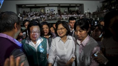 Tsai Ing-wen, the Democratic Progressive Party presidential candidate, greets the crowd at a campaign event in Chiayi, Taiwan, last month.