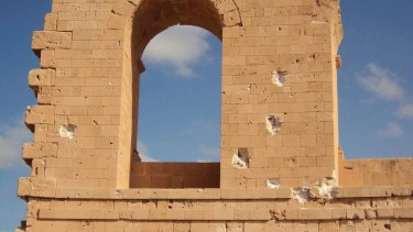 Battle damage to Roman ruins in Sabratha, Libya, after rival Libyan militias turned their guns against each other in fierce fighting that is in part fallout from an Italian-backed deal that funded militias to act as police forces to stop migrants.
