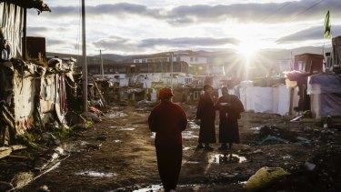 Sunset over the slum the nuns call home.