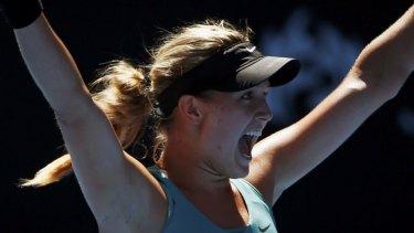 Eugenie Bouchard defeats Ana Ivanovic at the 2014 Australian Open.