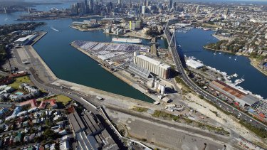 Ripe for redevelopment: White Bay (left), Glebe Island and Anzac Bridge (centre), and Blackwattle Bay (right).