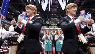 Massachusetts delegate Jimmy Davidson poses dressed as Republican presidential candidate Donald Trump during the final day of the Republican National Convention in Cleveland.