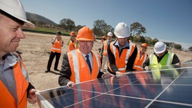 Canberra MPs at the Williamsdale solar farm, which is expected to power more than 3600 homes when completed.