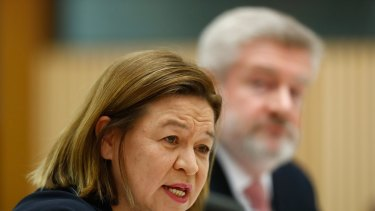 The managing director of the ABC, Michelle Guthrie, Communications Minister Mitch Fifield during a Senate estimates hearing on Tuesday.