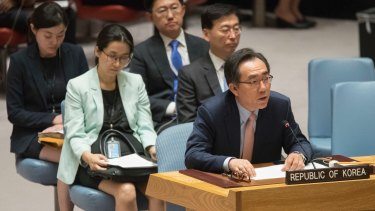South Korean Ambassador to the UN Cho Tae-yul speaks after the Security Council voted on the new North Korean sanctions.