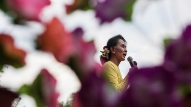 Aung Sun Suu Kyi, leader of Myanmar's National League for Democracy Party, campaigning at the weekend.