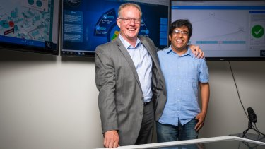 Gravity Consulting Managing Partner Stephen Hayes, and founder and CEO Kailash Krishnamurthi in the Gravity innovation lab in Deakin.