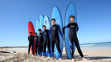 Boarders: Japanese students learn to surf during their stay in Australia.