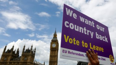 """A demonstrator for the """"Leave"""" campaign holds a placard outside Houses of Parliament in London."""