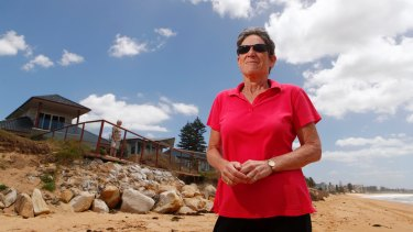 Deborah Hopkins blames the Northern Beaches Council for the delay in building a seawall to protect her Collaroy property, which was damaged in the June 2016 storms.