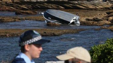 The boat that capsized off Botany on Thursday.