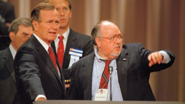 Aisles, then a media adviser, with Vice-President George H.W. Bush in 1988.