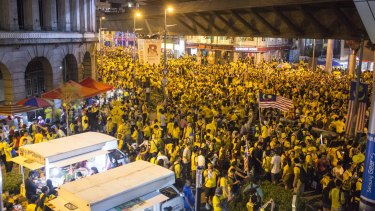 Bersih protesters in Kuala Lumpur in August; demanding an end to corruption in Malaysian politics.