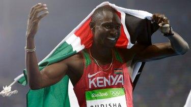 Kenya's David Rudisha celebrates winning the 800m final.