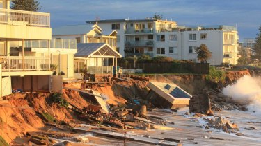 Houses at Collaroy damaged by the June 2016 storms.