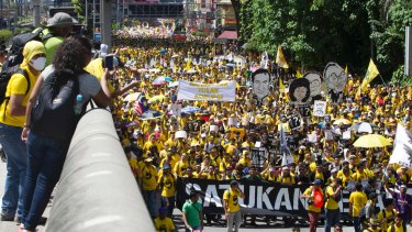 Activists from the Coalition for Clean and Fair Elections (Bersih) march during a rally in Kuala Lumpur, Malaysia, on Saturday.