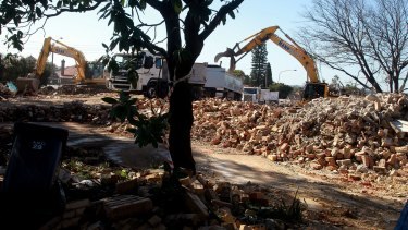 A house on Allum Street in Haberfield st is demolished on August 16.