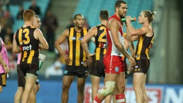 Lance Franklin playing against his old Hawthorn teammates in 2014.