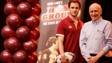 Actor Chris White, who will play Wally Lewis, with Hugh Lunn at the launch of <i>Home Ground: The State of Origin Musical</i>.