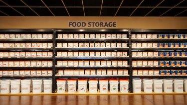 Shelves of food at an Emergency Essentials store in Murray, Utah.